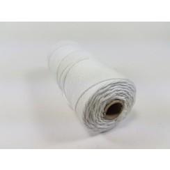 S.08.00.60.16.100 - Katoen Macramé touw spoel nr 16  +/- 1,5mm 100grs - wit +/- 110mtr