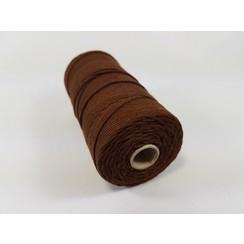 S.08.00.77.16.100 - Katoen Macramé touw spoel nr 16  +/- 1,5mm 100grs - bruin +/- 110mtr