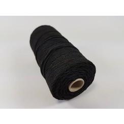 S.08.00.62.16.100 - Katoen Macramé touw spoel nr 16  +/- 1,5mm 100grs - zwart +/- 110mtr