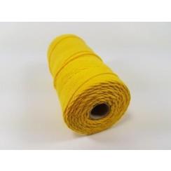 Katoen Macramé touw spoel nr 16  - +/ 1,5mm 100grs  geel - +/ 110mtr