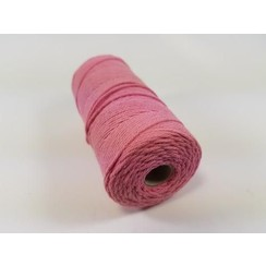 Katoen Macramé touw spoel nr 16  - +/ 1,5mm 100grs  roze - +/ 110mtr