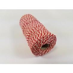 S.08.00.79.16.100 - Katoen Macramé touw spoel nr 16  +/- 1,5mm 100grs - rood wit +/- 110mtr