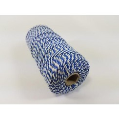 S.08.00.80.16.100 - Katoen Macramé touw spoel nr 16  +/- 1,5mm 100grs - blauw wit +/- 110mtr