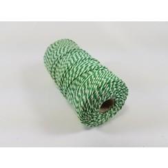 S.08.00.81.16.100 - Katoen Macramé touw spoel nr 16  +/- 1,5mm 100grs - groen wit +/- 110mtr