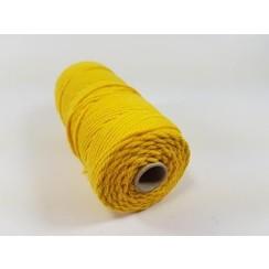 Katoen Macramé touw spoel nr 32  - +/ 2mm 100grs  geel - +/ 43mtr