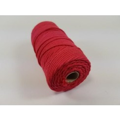 Katoen Macramé touw spoel nr 32  - +/ 2mm 100grs  rood - +/ 43mtr