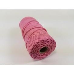 Katoen Macramé touw spoel nr 32  - +/ 2mm 100grs  roze - +/ 43mtr