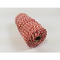S.08.00.79.32.100 - Katoen Macramé touw spoel nr 32  +/- 2mm 100grs - rood wit +/- 43mtr