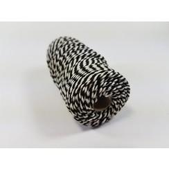 Katoen Macramé touw spoel nr 32  - +/ 2mm 100grs  zwart wit - +/ 43mtr