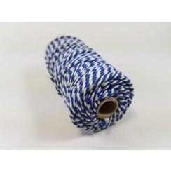 S.08.00.80.32.100 - Katoen Macramé touw spoel nr 32  +/- 2mm 100grs - blauw wit +/- 43mtr