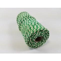 Katoen Macramé touw spoel nr 32  - +/ 2mm 100grs  groen wit - +/ 43mtr