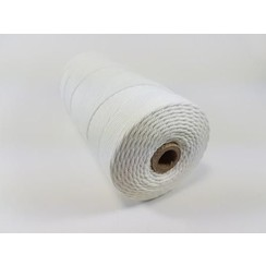 Katoen Macramé touw spoel nr 32  - +/ 2mm 500grs  wit - +/ 215mtr