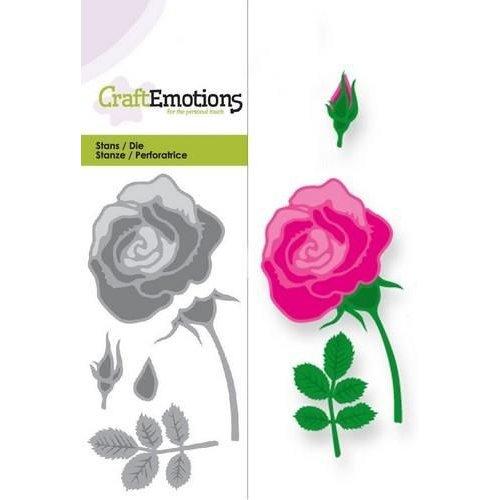 CraftEmotions 115633/0166 - CraftEmotions Die - roos Card 5x10cm