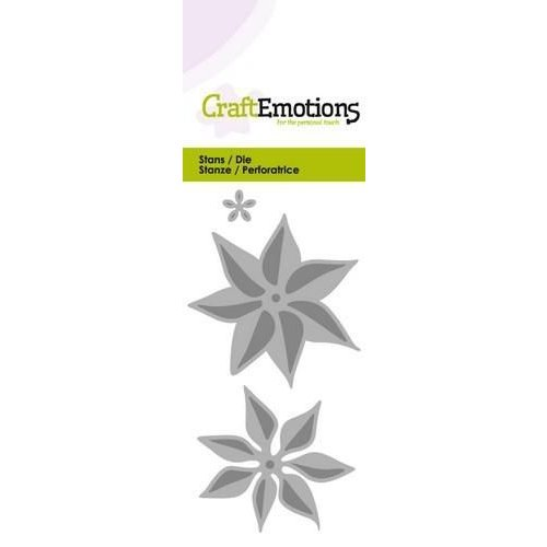 CraftEmotions 115633/0178 - CraftEmotions Die - bloem kerstster 3D Card 5x10cm