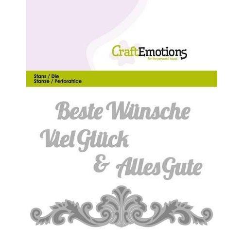 CraftEmotions 115633/0403 - CraftEmotions Die Text - Beste Wünsche (DE) Card 11x9cm