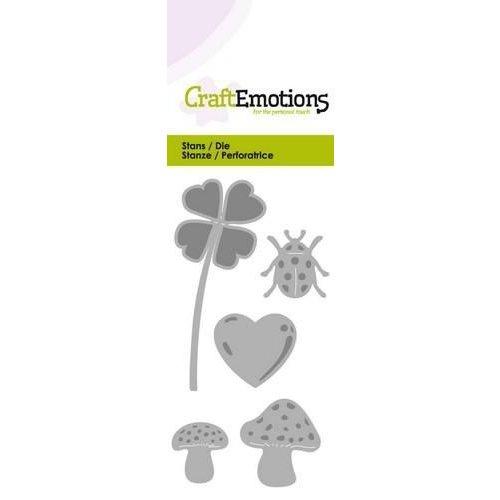 CraftEmotions 115633/0171 - CraftEmotions Die - geluk symbolen Card 5x10cm