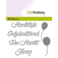 115633/0301 - CraftEmotions Die Tekst - Hartelijk Gefeliciteerd (NL) Card 11x9cm
