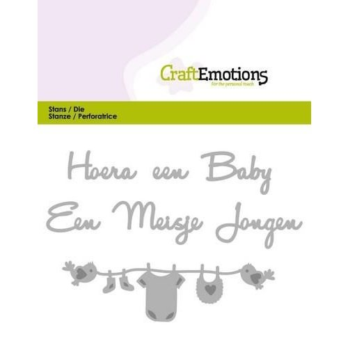 CraftEmotions 115633/0305 - CraftEmotions Die Tekst - Hoera een baby (NL) Card 11x9cm