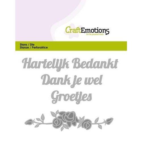 CraftEmotions 115633/0306 - CraftEmotions Die Tekst - Hartelijk bedankt (NL) Card 11x9cm