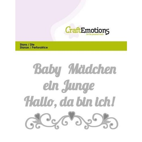 CraftEmotions 115633/0421 - CraftEmotions Die Text - Baby Hallo, da bin ich! (DE) Card 11x9cm
