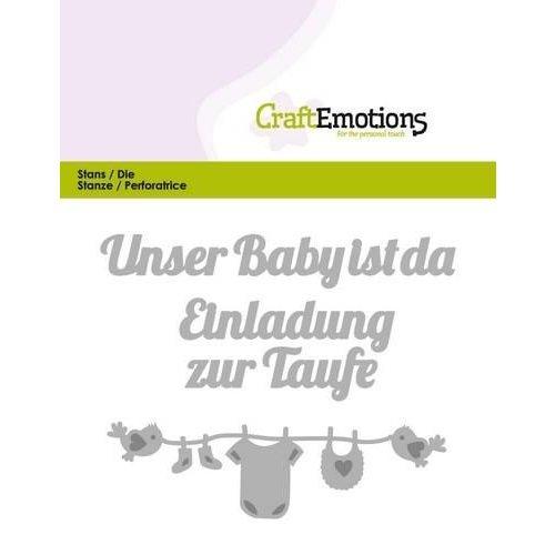 CraftEmotions 115633/0422 - CraftEmotions Die Text - Unser Baby ist da (DE) Card 11x9cm
