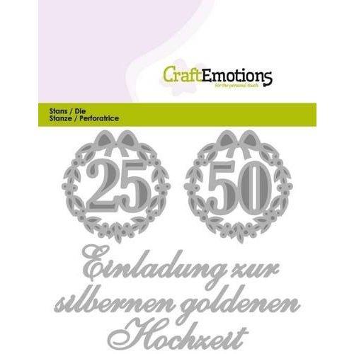 CraftEmotions 115633/0410 - CraftEmotions Die Tekst - Einladung 25 50 Hochzeit (DE) Card 11x9cm
