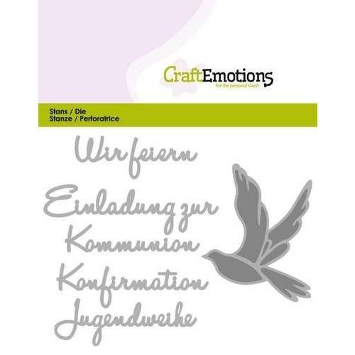 CraftEmotions 115633/0420 - CraftEmotions Die Tekst - Wir feiern Kommunion (DE) Card 11x9cm