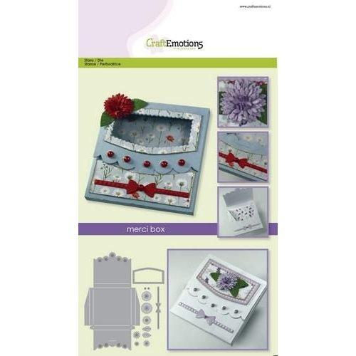 CraftEmotions 115633/1503 - CraftEmotions Die - merci box Card A5 box 80x80x10 mm