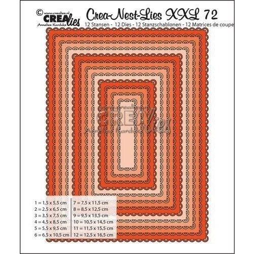 Crealies CNLXXL72 - Crealies Crea-Nest-Lies XXL no 72 Rectangles with open scallop  max. 12,5x16,5 cm / L72