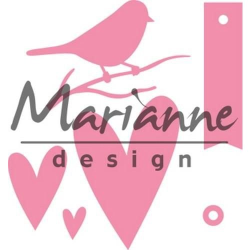Marianne Design COL1443 - Collectable Giftwrapping - Karin's bird, hearts & tag 43