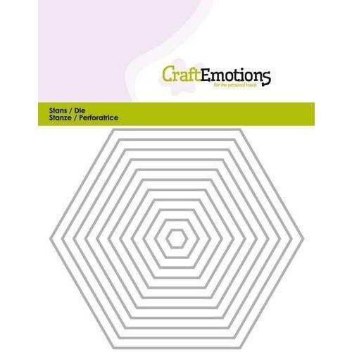 CraftEmotions 115633/0813 - CraftEmotions Die - randen recht Hexagon Card 11x14cm