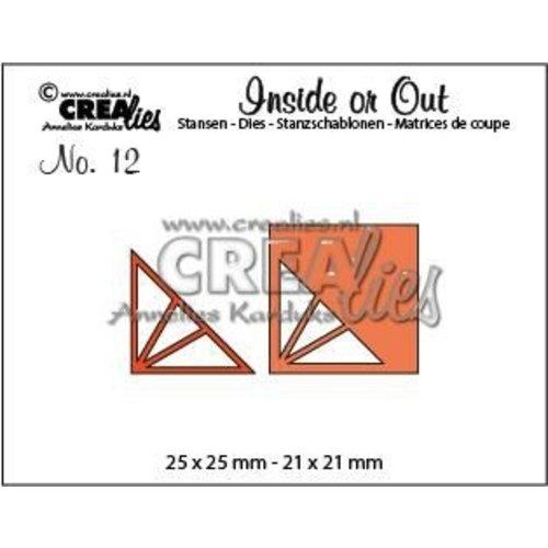 Crealies CLIO12 - Crealies Insider or Out Corners F driehoek 2 25 x 25 mm - 21 x 21 mm