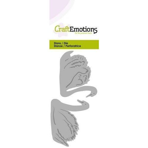 CraftEmotions 115633/0237 - CraftEmotions Die - 2 zwanen Card 5x10cm