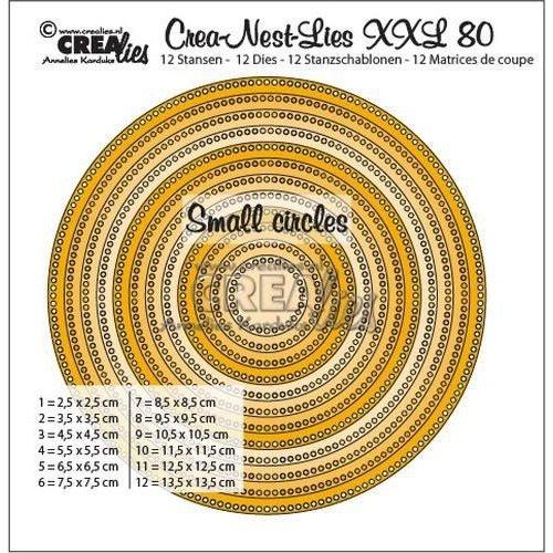 Crealies CLNestXXL80 - Crealies Crea-Nest-Lies XXL no 80 cirkels - kleine gaatjes tXXL80 13,5x13,5cm