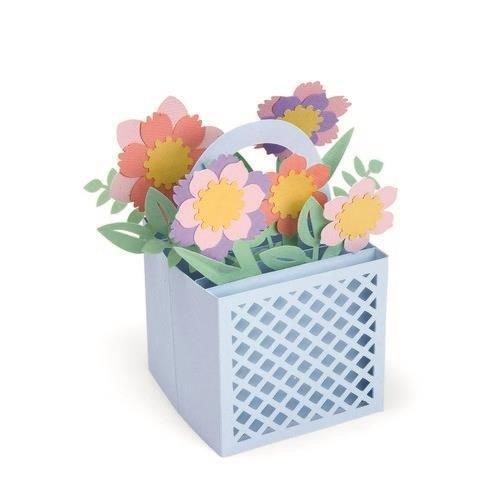 Sizzix 663578 - Sizzix Thinlits Die Set - 12PK Card in a Box Flower Basket 8 Lynda