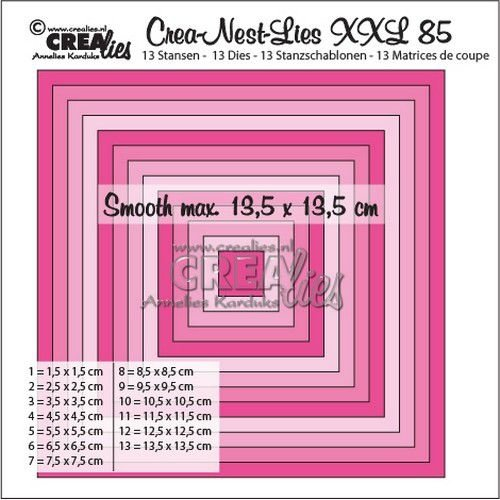 Crealies CLNestXXL85 - Crealies Crea-Nest-Lies XXL no 85 gladde vierkanten halve cm tXXL85 13,5x13,5 cm