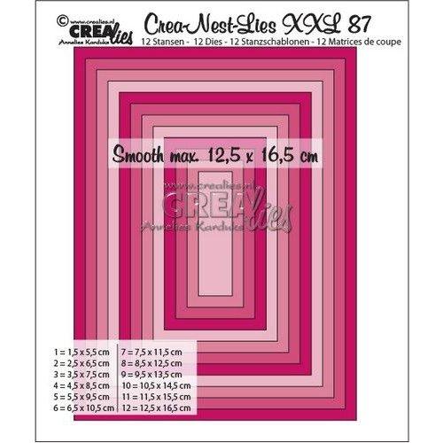 Crealies CLNestXXL87 - Crealies Crea-Nest-Lies XXL no 87 gladde rechthoeken halve cm tXXL87 12,5x16,5 cm