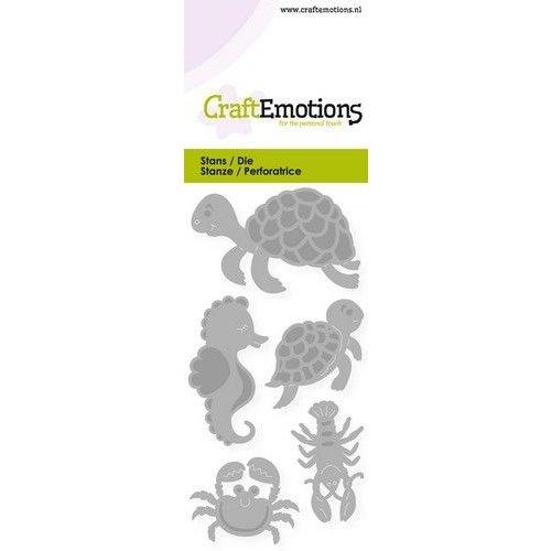 CraftEmotions 115633/0248 - CraftEmotions Die - schildpad, zeepaardje Card 5x10cm