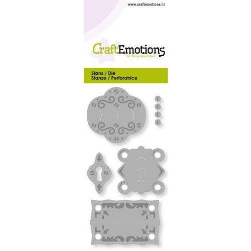 CraftEmotions 115633/0243 - CraftEmotions Die - vintage scharnieren en slotplaat Card 5x10cm