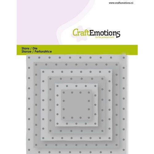 CraftEmotions 115633/0832 - CraftEmotions Die - vierkanten vintage - klinknagels Card 11x9cm - 2,8-9,1cm