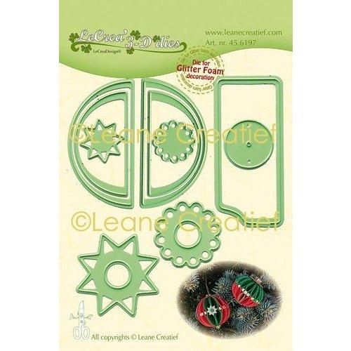 45.6197 - Lea'bilitie Glitter Foam decoratie Kerstbal  gladde rand snijmal