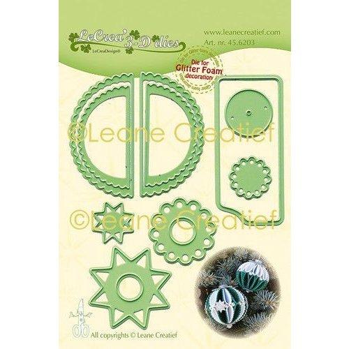 45.6203 - Lea'bilitie Glitter Foam decoratie Kerstbal  gekartelde rand snijmal