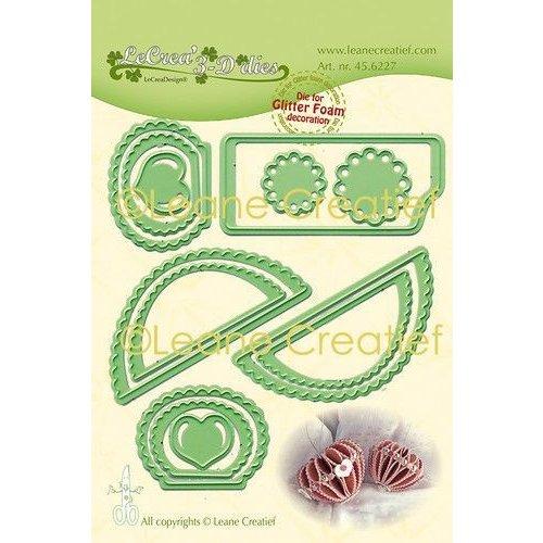 45.6227 - Lea'bilitie Glitter Foam decoratie Hart gekartelde rand  snijmal