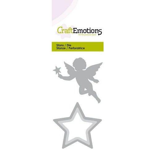 CraftEmotions 115633-0255 - CraftEmotions Die - kerstengel met ster Card 5x10cm
