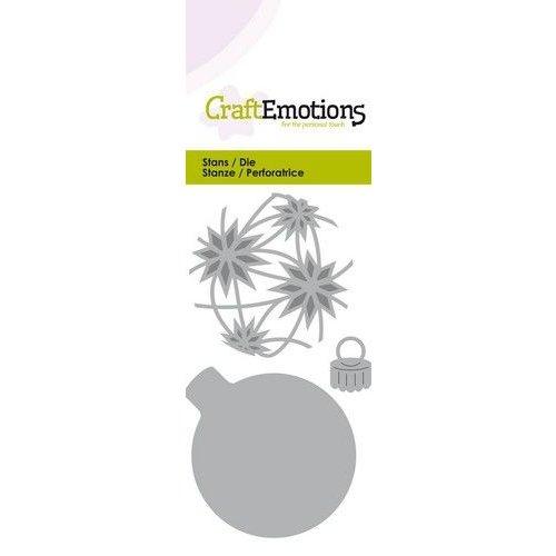 CraftEmotions 115633-0256 - CraftEmotions Die - kerstbal rond met sterren Card 5x10cm - 4,5x6cm