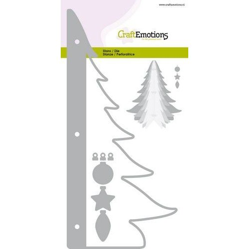 CraftEmotions 115633-0514 - CraftEmotions Die - kerstboom decoratie 3D Card 10,5x14,8cm - 10,5cm - 14,5cm