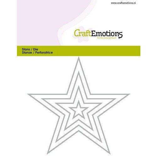 CraftEmotions 115633-0822 - CraftEmotions Die - randen 5 puntige ster Card 11x9cm - 1,5cm - 9cm