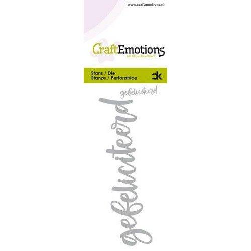 CraftEmotions 115633-0012 - CraftEmotions Die Handletter - gefeliciteerd (NL) Card 5x10cm Carla Kamphuis