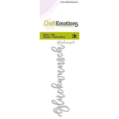 CraftEmotions 115633-0052 - CraftEmotions Die Handletter - Glückwunsch (DE) Card 5x10cm Carla Kamphuis