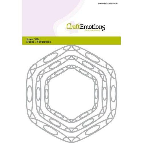 CraftEmotions 115633-0517 - CraftEmotions Die - frames art hexagon Card 10,5x14,8cm - 6,5 - 11cm